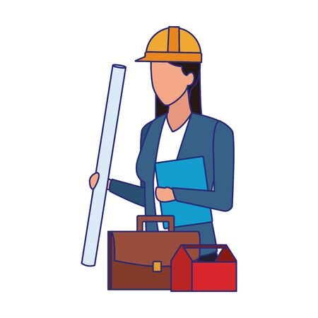 avatar engineer woman with portfolio and toolbox over white background, vector illustration