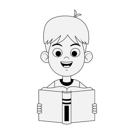 Happy boy reading a book over white background, flat design, vector illustration