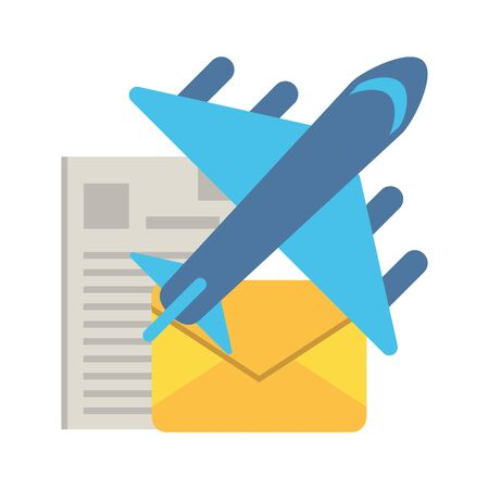 airplane flying travel with envelope mail vector illustration design