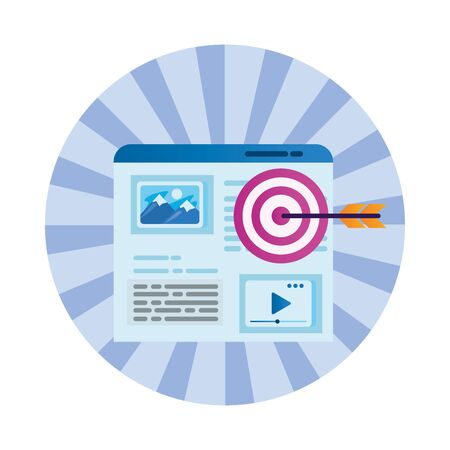 template webpage window with target arrow vector illustration design