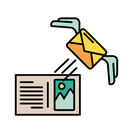envelope mail with wings and image icon vector illustration design