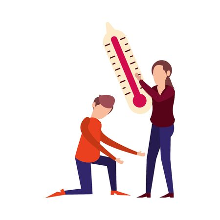 couple lifting thermometer measure characters vector illustration design