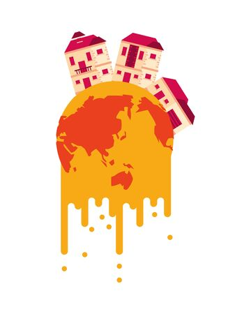 world planet melting global warming with houses vector illustration design