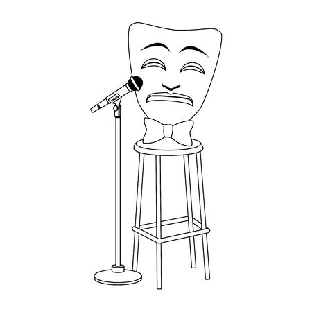 tragedy comedy mask with stand microphone icon over white background, flat design, vector illustration Ilustração