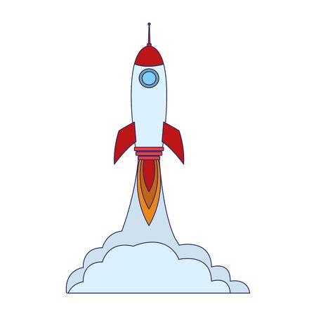 space rocket launching over white background, vector illustration Çizim