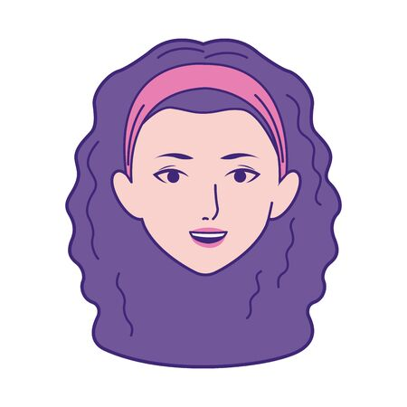cartoon girl with curly hair over white background, vector illustration