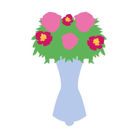 flowers bouquet icon over white background, vector illustration 向量圖像