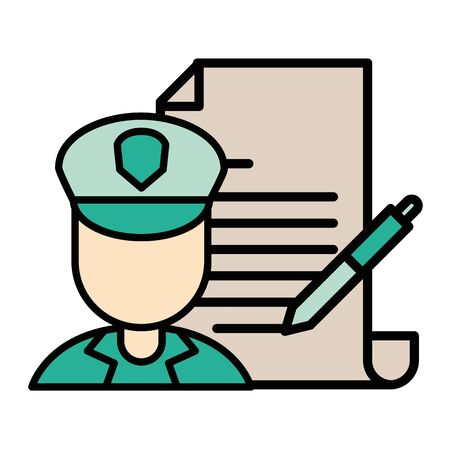 postman worker with paper document and pen vector illustration design