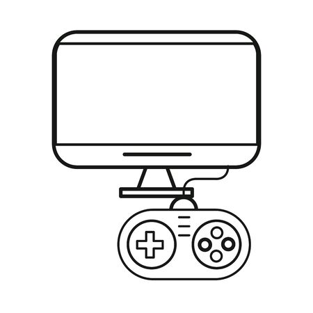 video game control handle with display tv vector illustration design Ilustrace
