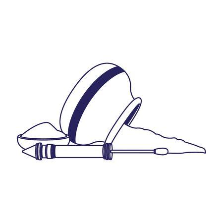 bowl with holi powder and pichkari over white background, flat design, vector illustration