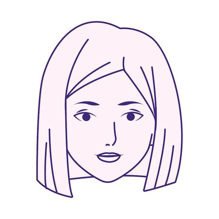 cartoon woman with short hair over white background, flat design, vector illustration