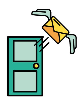 envelope mail with wings and door postal service vector illustration design