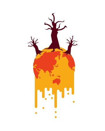 world planet melting with dry trees global warming vector illustration design
