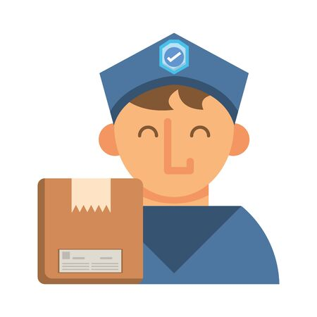 postman worker with box carton vector illustration design