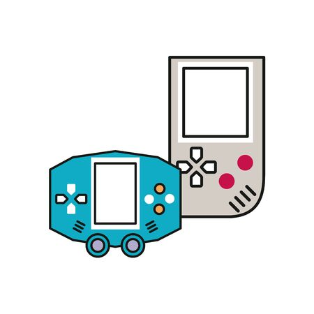 video game control with display handle icon vector illustration design