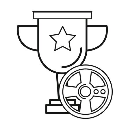 video game car wheel control with trophy cup vector illustration design Ilustrace