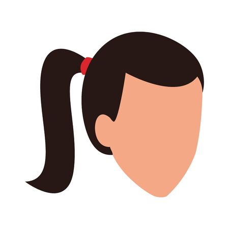 avatar woman with hair tail icon over white background, vector illustration