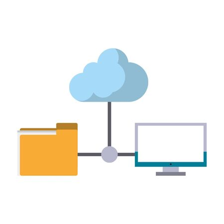 computer with documents folder and cloud icon cartoon isolated vector illustration graphic design