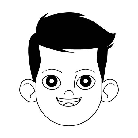 happy boy face icon over white background, flat design, vector illustration