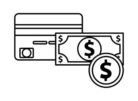 bill and coin money dollars with credit card vector illustration design