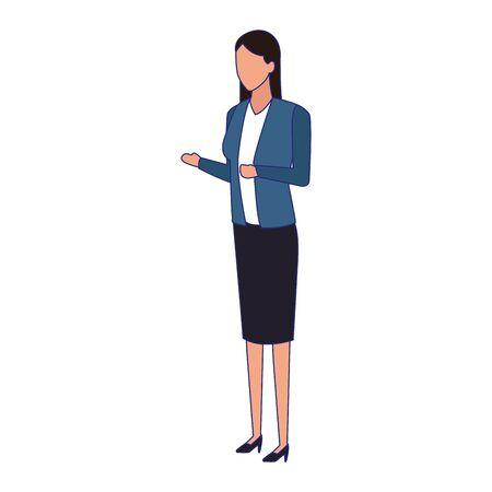 avatar businesswoman standing icon over white background, vector illustration 向量圖像