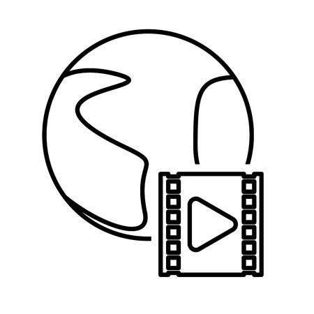 media player play button with world planet vector illustration design