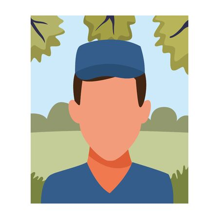 Courier delivery with hat profession avatar in nature park landscape vector illustration graphic design