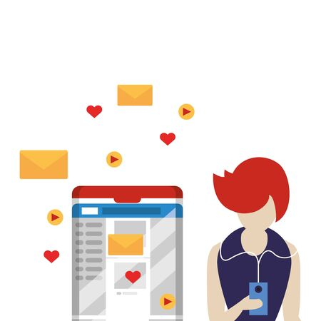 woman using smartphone with social media app vector illustration design Ilustrace
