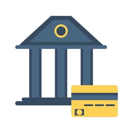 bank building with credit card vector illustration design