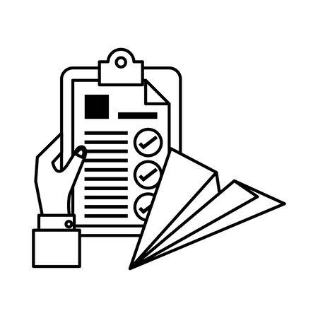 hand with clipboard checklist document vector illustration design