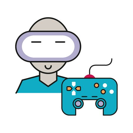 video game control handle with gamer character vector illustration design Ilustrace
