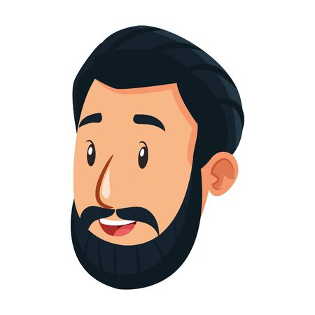 cartoon man with beard over white background, colorful design, vector illustration