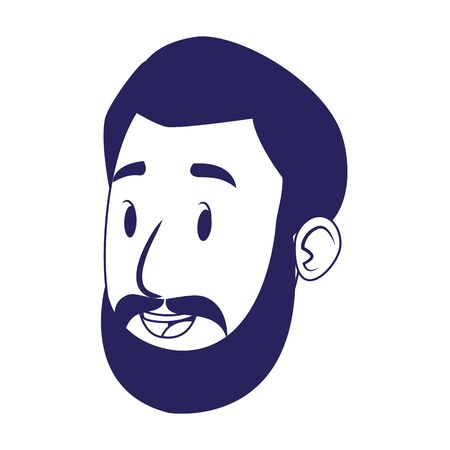 cartoon man with beard over white background, flat design, vector illustration
