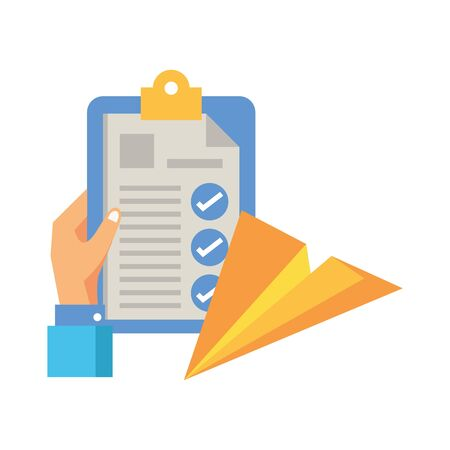 checklist clipboard document with paper airplane vector illustration design