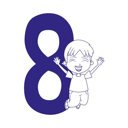 number eight with happy boy jumping over white background, flat design, vector illustration Ilustracja
