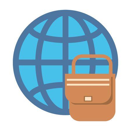 sphere planet browser with postal service vector illustration design