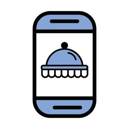 tray server dish in smartphone vector illustration design
