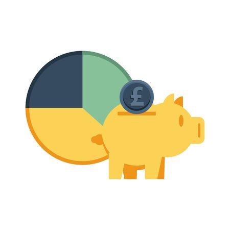 piggy saving euro with statistics pie vector illustration design