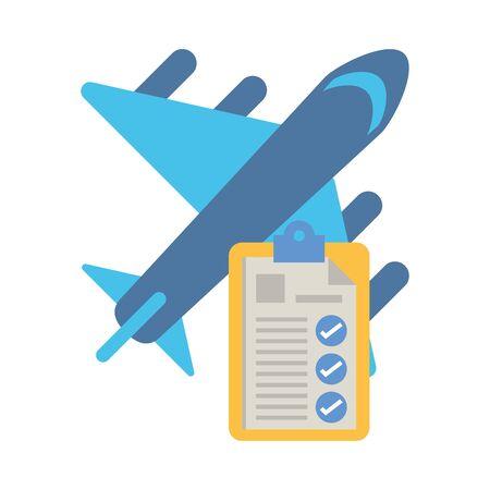 checklist clipboard document with ariplane flying vector illustration design