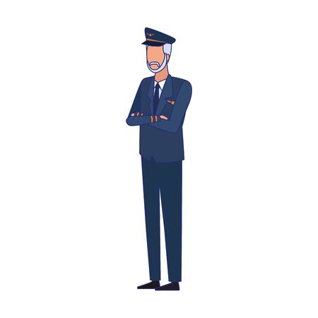 Plane pilot standing icon over white background, colorful design, vector illustration