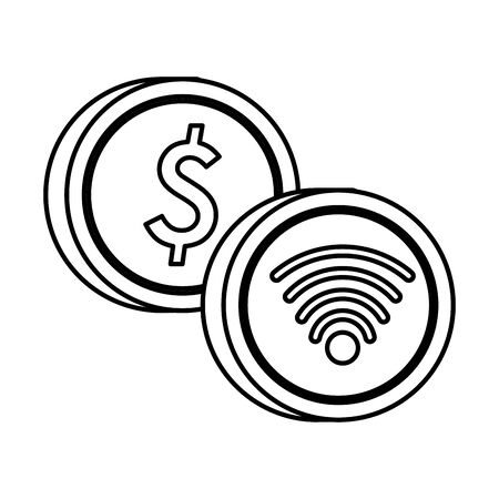 wifi connection signal button with coin dollar vector illustration design Ilustrace