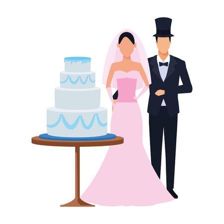avatar married couple standing around the wedding cake icon over white background, vector illustration Standard-Bild - 140564616