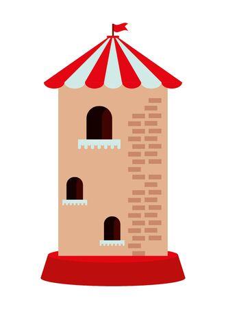 castle tower building park childish icon vector illustration design