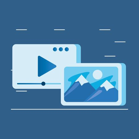 media player template with play button and picture vector illustration design
