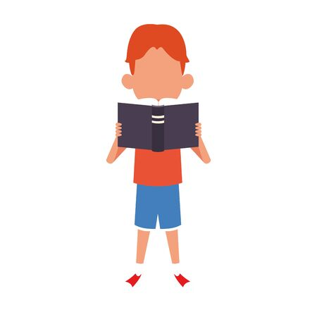 cartoon happy boy standing and reading a book over white background, vector illustration