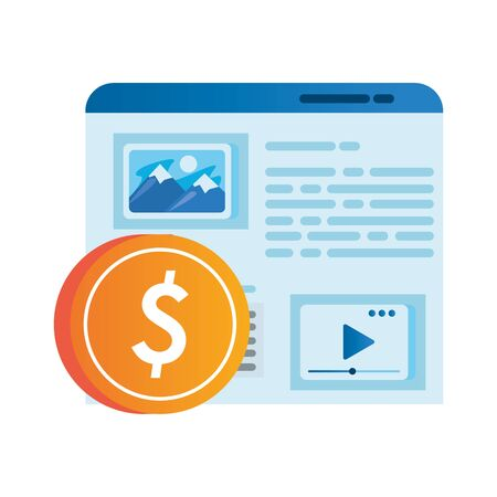 template webpage window with coin dollar vector illustration design