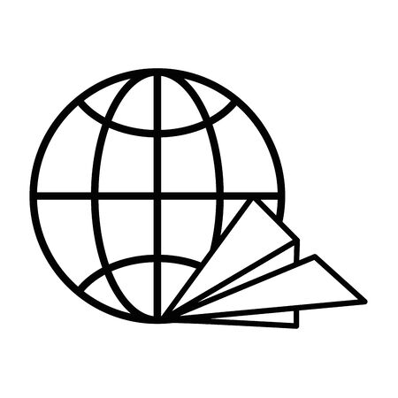 sphere planet browser with paper airplane vector illustration design Çizim