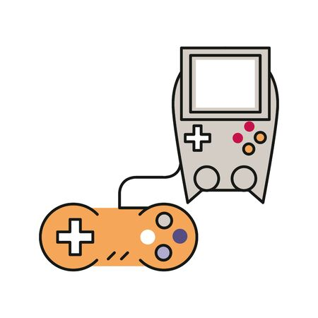 video game control handle with portable console vector illustration design