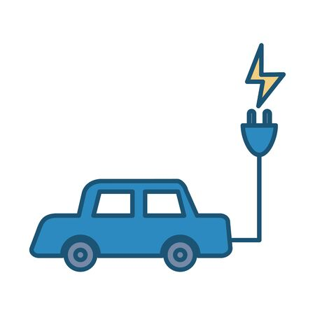 ecology car with connector cable vector illustration design