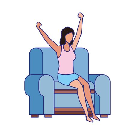 woman sitting on couch and Stretching Herself over white background, vector illustration Ilustrace